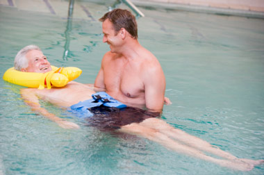 man in water rehab program